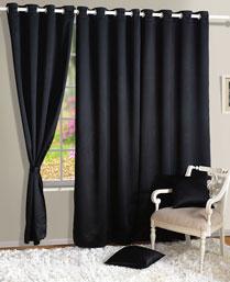 Swayam Black Premium Blackout Satin Curtains With Eyelets 1002Black