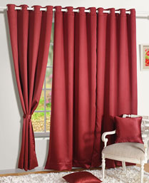 Swayam Maroon Premium Blackout Satin Curtains With Eyelets 1005Maroon