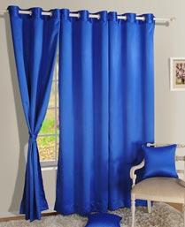 Swayam Princess Blue Premium Blackout Satin Curtains With Eyelets 1012PrincessBlue