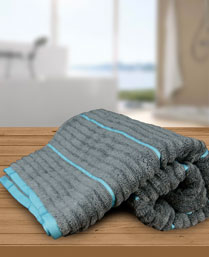 Welspun Grey Aqua Exotica Ribbed Bath Towel 1019630