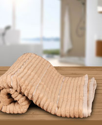 Welspun Camel Ivory Exotica Ribbed Bath Towel 1019632