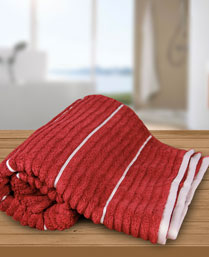 Welspun Garnet Ivory Exotica Ribbed Bath Towel 1021822
