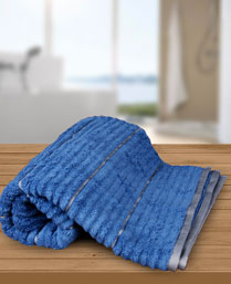 Welspun Cyan Blue Grey Exotica Ribbed Bath Towel 1021823