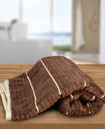 Welspun Choco Camel Exotica Ribbed Bath Towel 1021824