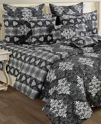 Swayam Black & White Shades N More Double Fitted Sheet 1420FS