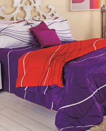 Portico New York Purple Eldora King Bedsheet with 2 Pillow Cover 9062752