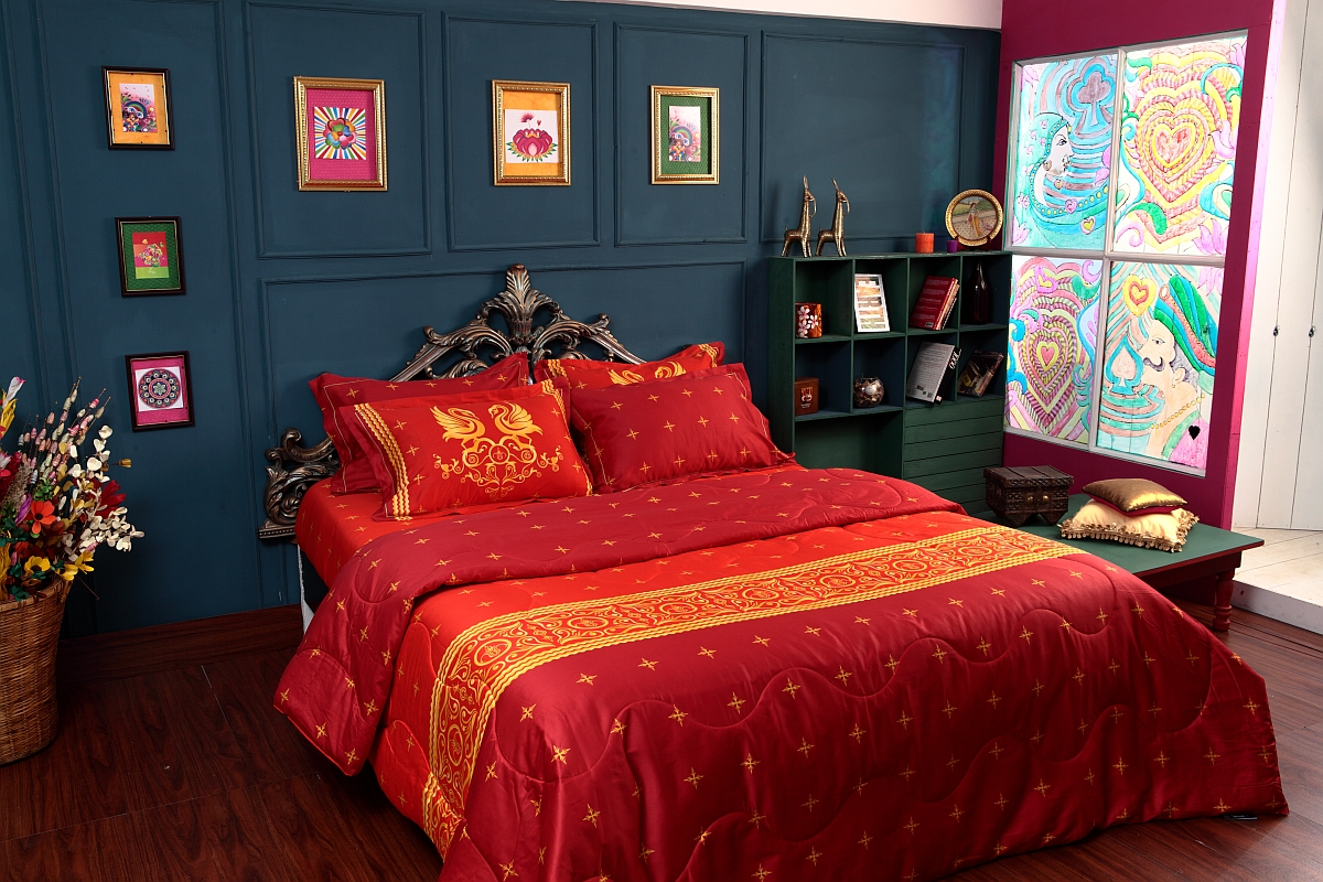 Red 300TC Bed linens from Manish Arora Swan collection