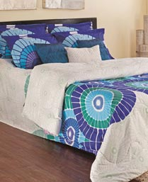 Portico New York Blue Elena Bedsheet Set & Comforter 9900822