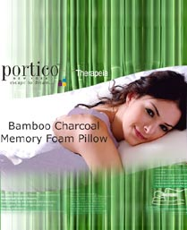 Portico New York White Bamboo Charcoal Memory Foam Pillow 9950121
