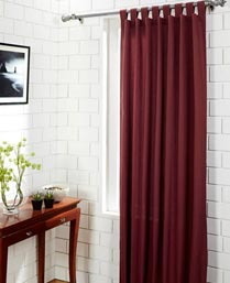 House This Deep Red Solid Dobby  XL Door Curtain CR138A