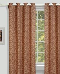 House This Brown Organic Jacquard Curtains CR269B
