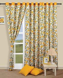 Swayam Yellow Curtain Concept  Printed Curtain CURD3701