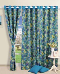 Swayam Turquoise Curtain Concept  Printed Curtain CURD4003