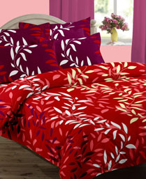 Home Bee Red Gloria Double Besheet with 2 Pillow Covers HBGL0103012